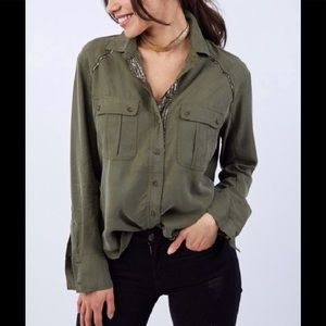 Free People Olive green metallic Button Down
